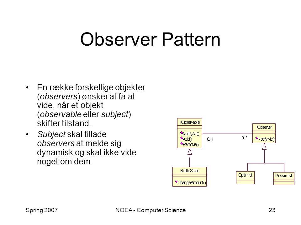 Spring 2007NOEA - Computer Science23 Observer Pattern En række forskellige objekter (observers) ønsker at få at vide, når et objekt (observable eller subject) skifter tilstand.