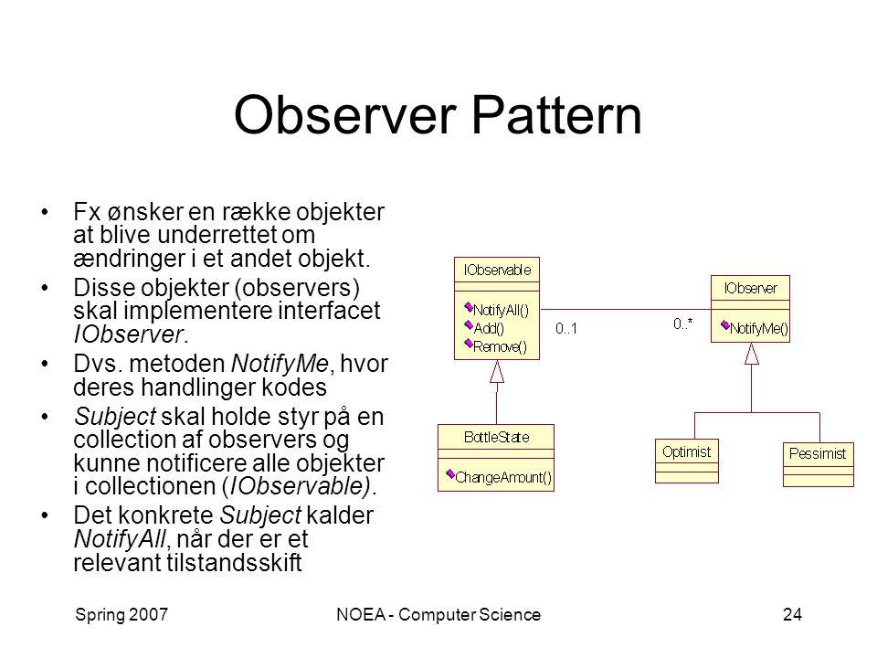 Spring 2007NOEA - Computer Science24 Observer Pattern Fx ønsker en række objekter at blive underrettet om ændringer i et andet objekt.
