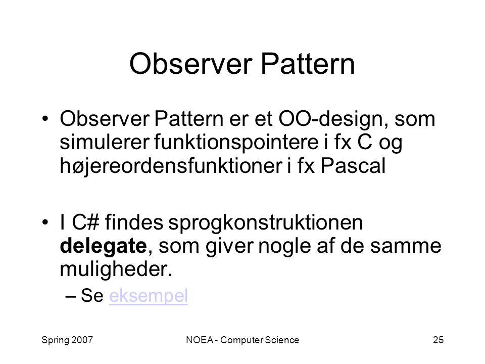 Spring 2007NOEA - Computer Science25 Observer Pattern Observer Pattern er et OO-design, som simulerer funktionspointere i fx C og højereordensfunktioner i fx Pascal I C# findes sprogkonstruktionen delegate, som giver nogle af de samme muligheder.
