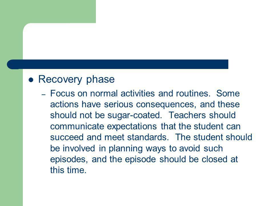 Recovery phase – Focus on normal activities and routines.