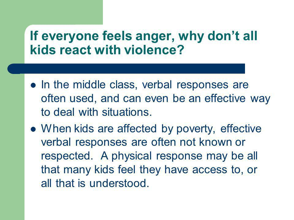 If everyone feels anger, why don't all kids react with violence.
