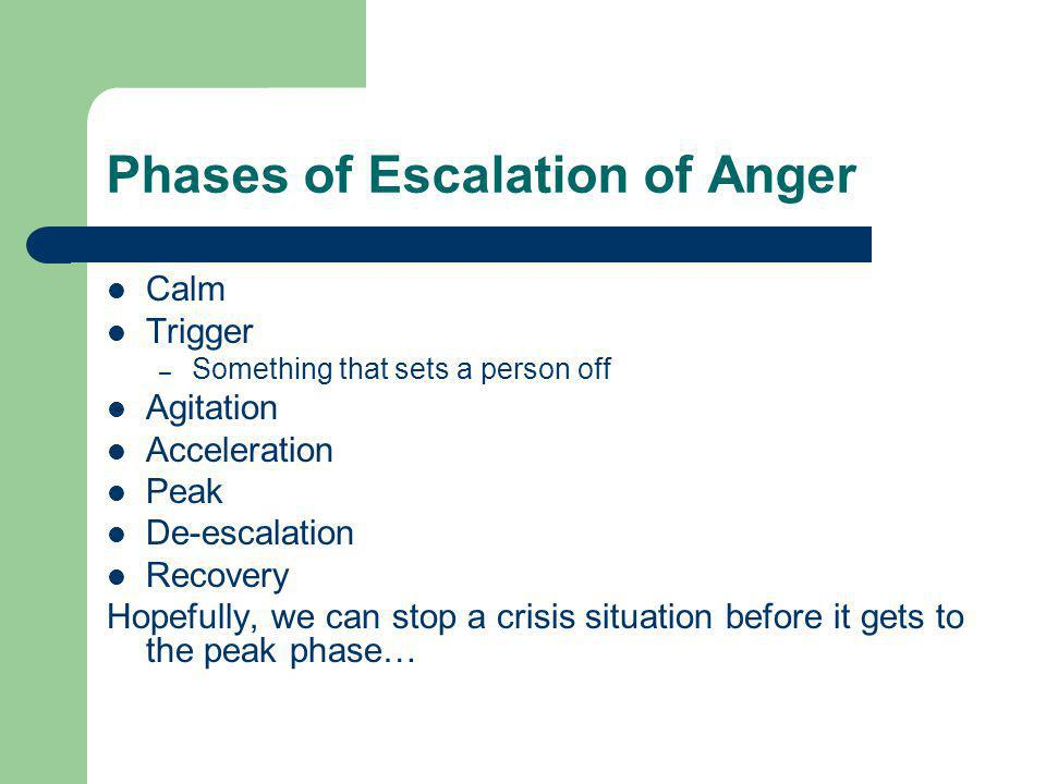 Phases of Escalation of Anger Calm Trigger – Something that sets a person off Agitation Acceleration Peak De-escalation Recovery Hopefully, we can stop a crisis situation before it gets to the peak phase…