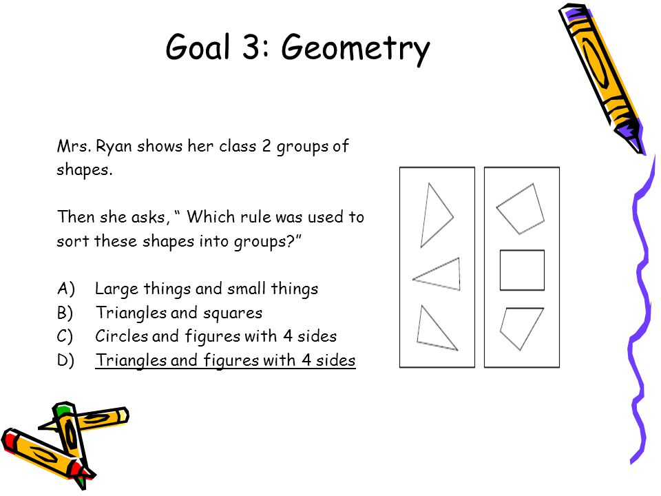 "Goal 3: Geometry Mrs. Ryan shows her class 2 groups of shapes. Then she asks, "" Which rule was used to sort these shapes into groups?"" A)Large things"