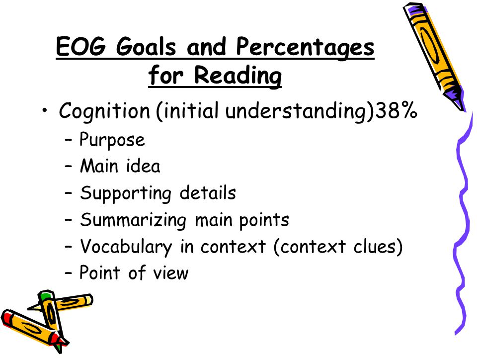 EOG Goals and Percentages for Reading Cognition (initial understanding)38% –Purpose –Main idea –Supporting details –Summarizing main points –Vocabulary in context (context clues) –Point of view