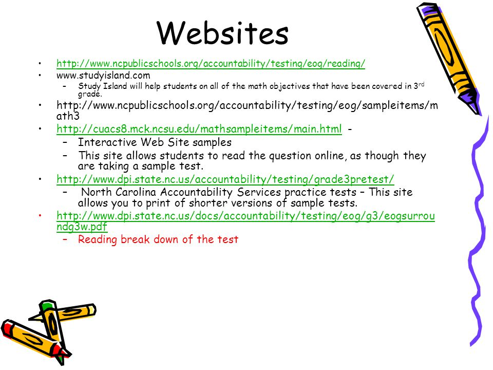 Websites http://www.ncpublicschools.org/accountability/testing/eog/reading/ www.studyisland.com –Study Island will help students on all of the math ob