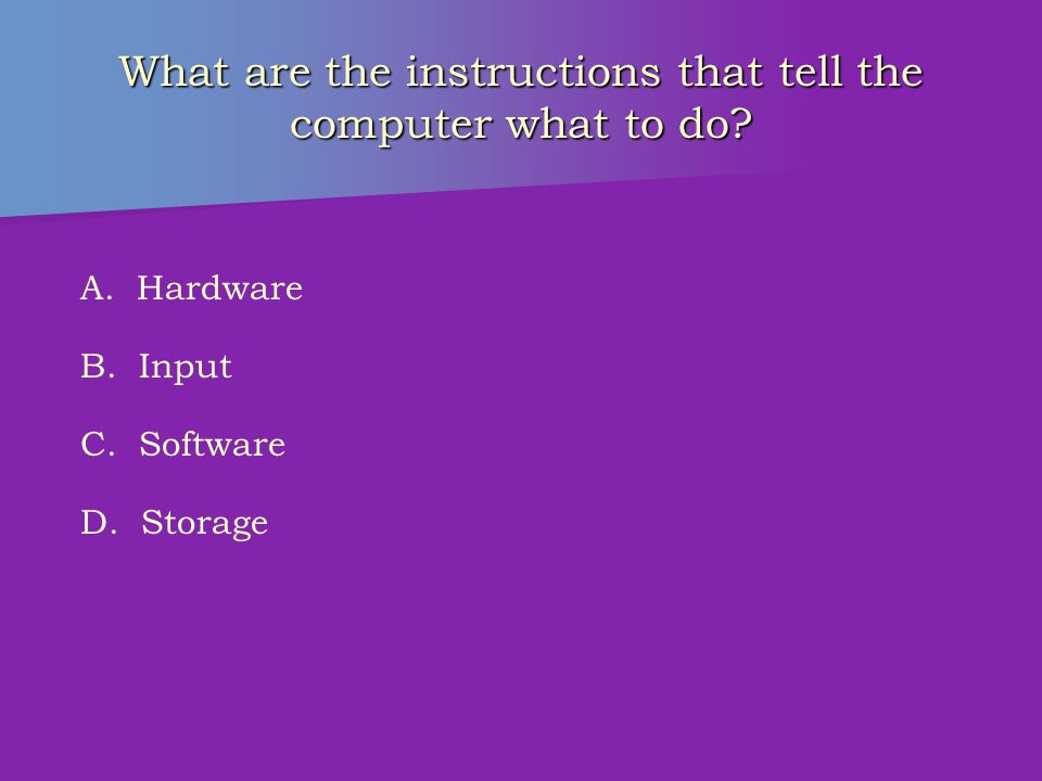 What is the physical equipment that can be touched? A. Hardware B. Input C. Software D. Storage
