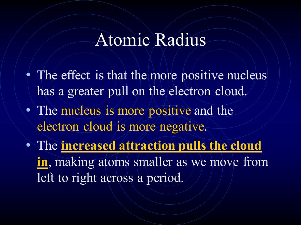 Atomic Radius The trend across a horizontal period is less obvious. What happens to atomic structure as we step from left to right? Each step adds a p