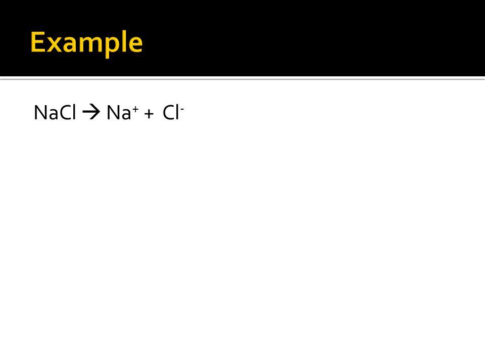 NaCl  Na + + Cl -