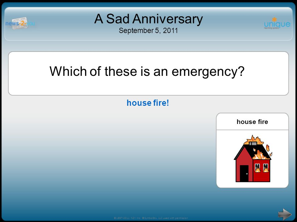 Try Again! ©1997-2011 N2Y, Inc. ©SymbolStix, LLC used with permission A Sad Anniversary September 5, 2011 house fireneed homework help Which of these