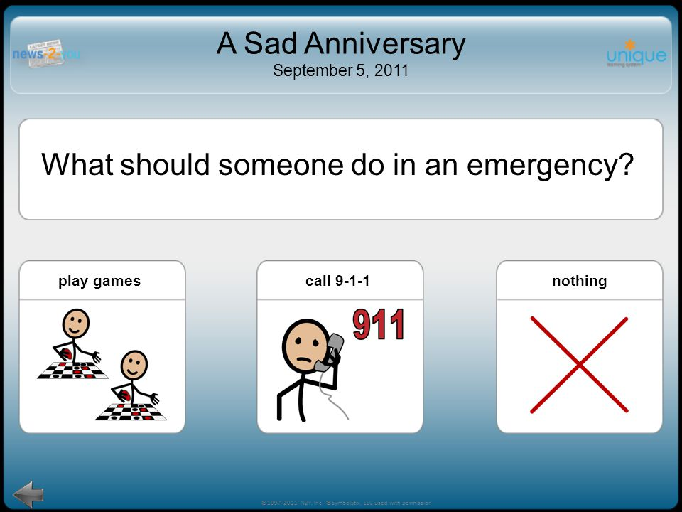 house fire! ©1997-2011 N2Y, Inc. ©SymbolStix, LLC used with permission A Sad Anniversary September 5, 2011 house fire Which of these is an emergency?