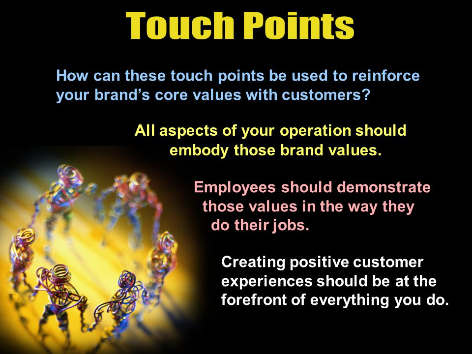 Three categories of touch points:  Pre-purchase  Purchase  Post-purchase