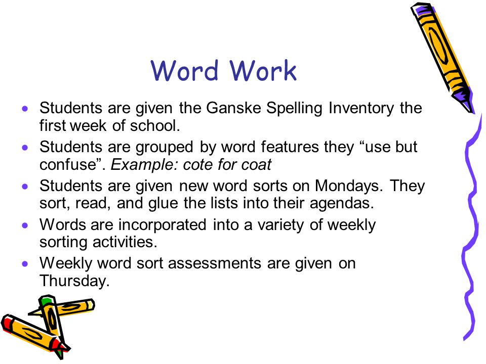 Word Work  Students are given the Ganske Spelling Inventory the first week of school.