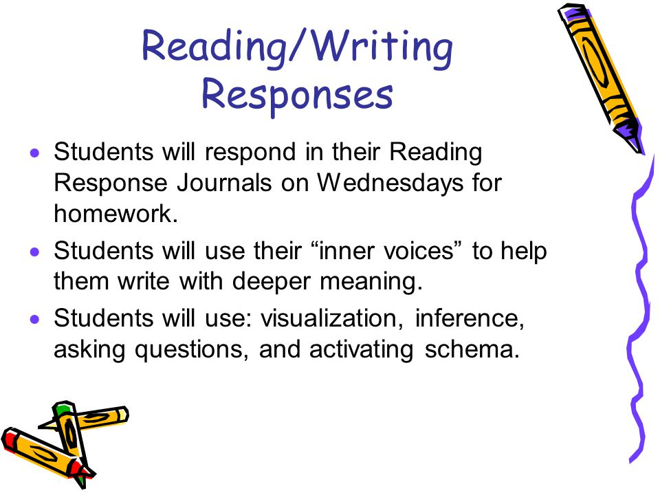 Reading/Writing Responses  Students will respond in their Reading Response Journals on Wednesdays for homework.