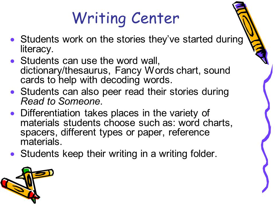Writing Center  Students work on the stories they've started during literacy.