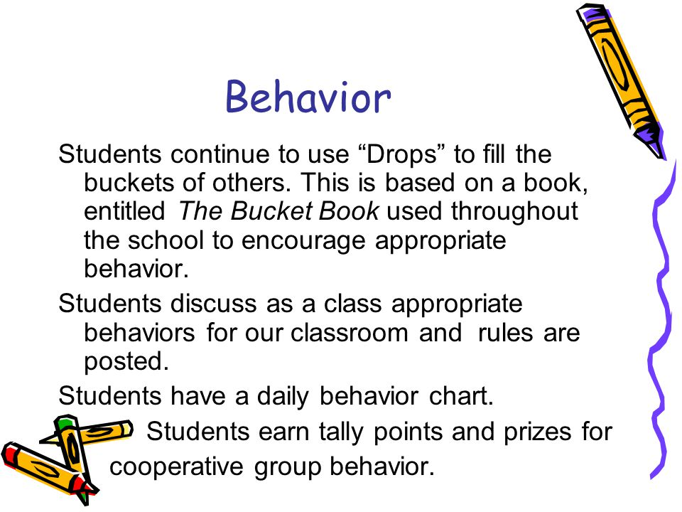 Behavior Students continue to use Drops to fill the buckets of others.