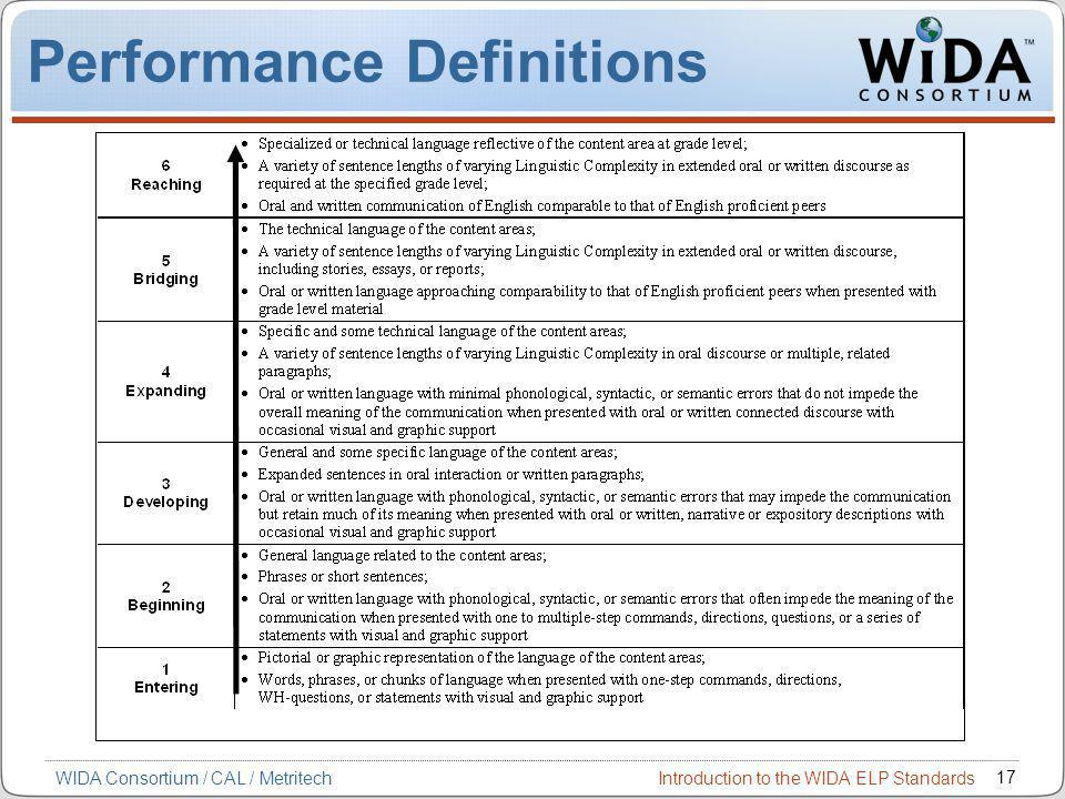 Introduction to the WIDA ELP Standards 17 WIDA Consortium / CAL / Metritech Performance Definitions