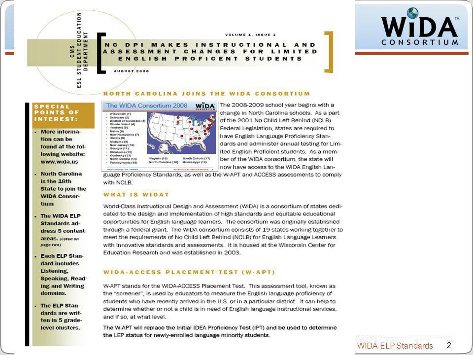 Introduction to the WIDA ELP Standards 2 WIDA Consortium / CAL / Metritech