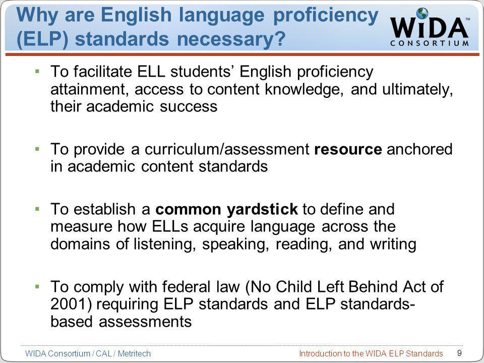 Introduction to the WIDA ELP Standards 9 WIDA Consortium / CAL / Metritech Why are English language proficiency (ELP) standards necessary.