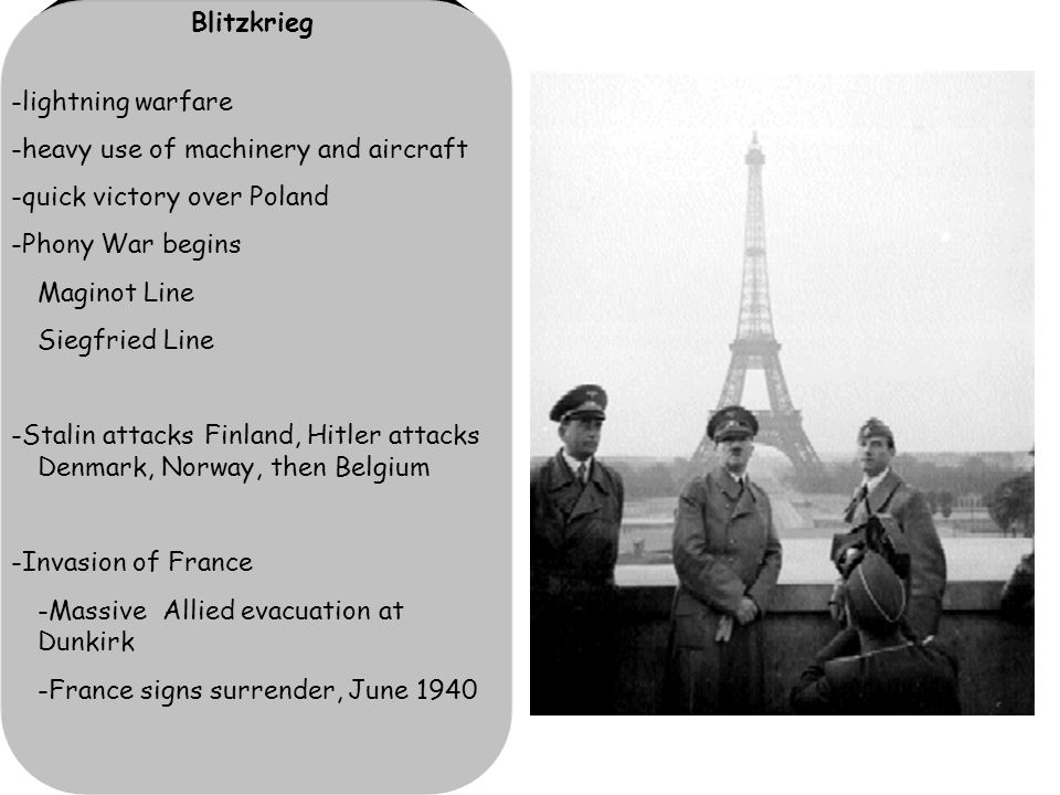 Blitzkrieg -lightning warfare -heavy use of machinery and aircraft -quick victory over Poland -Phony War begins Maginot Line Siegfried Line -Stalin attacks Finland, Hitler attacks Denmark, Norway, then Belgium -Invasion of France -Massive Allied evacuation at Dunkirk -France signs surrender, June 1940