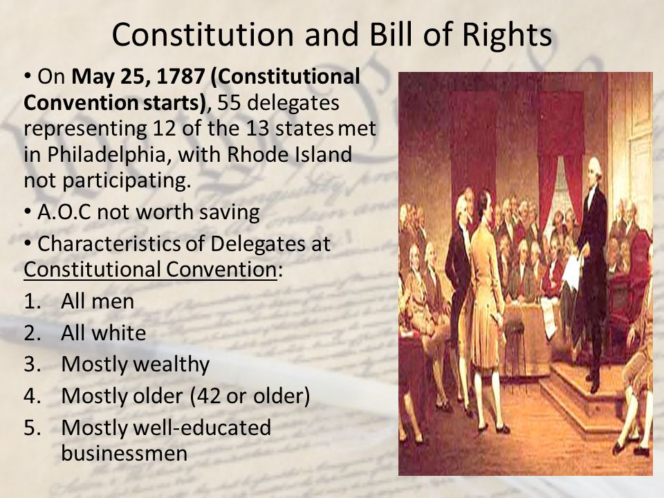 Constitution and Bill of Rights ISSUES to be determined at Convention: 1.Representation in government 2.Slavery 3.Economics The public knew what was going on, but the delegates kept the details quiet.
