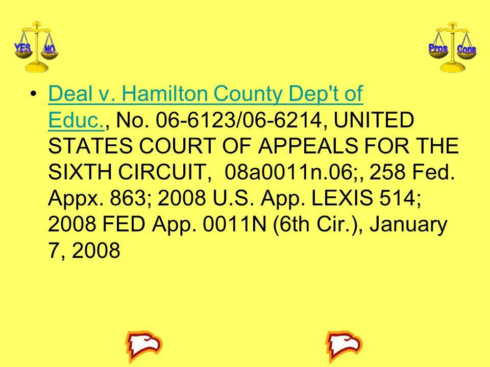 Deal v.Hamilton County Dep t of Educ., No.