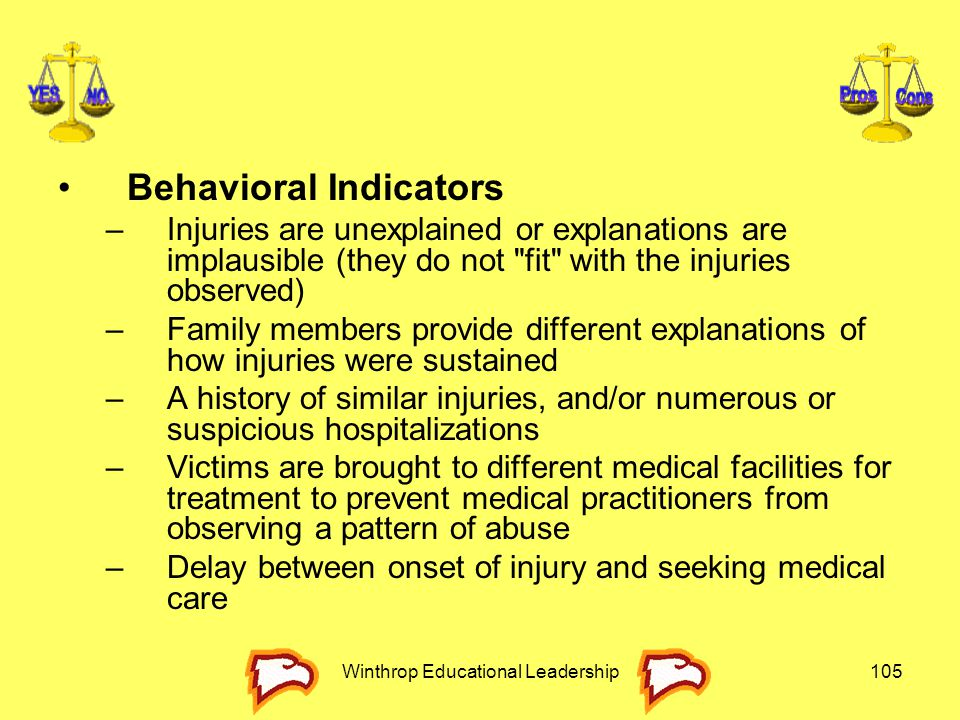 Winthrop Educational Leadership105 Behavioral Indicators –Injuries are unexplained or explanations are implausible (they do not