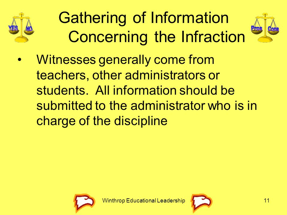 Winthrop Educational Leadership11 Gathering of Information Concerning the Infraction Witnesses generally come from teachers, other administrators or s