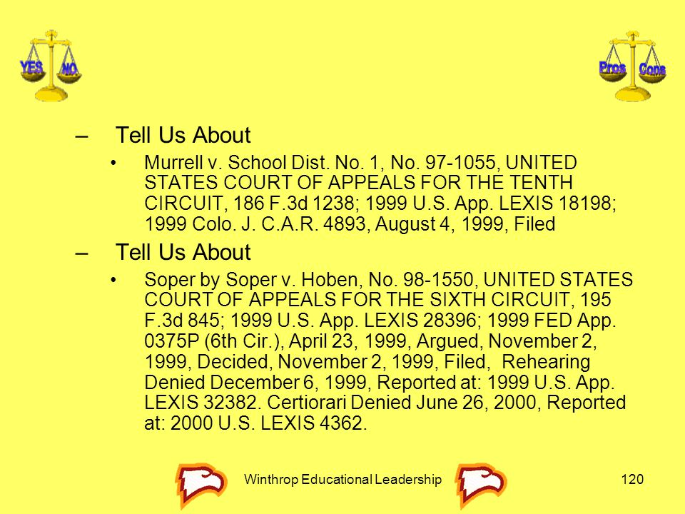 Winthrop Educational Leadership120 –Tell Us About Murrell v. School Dist. No. 1, No. 97-1055, UNITED STATES COURT OF APPEALS FOR THE TENTH CIRCUIT, 18
