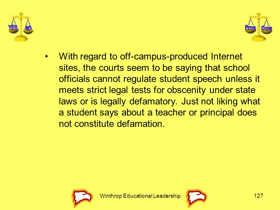 Winthrop Educational Leadership127 With regard to off-campus-produced Internet sites, the courts seem to be saying that school officials cannot regula