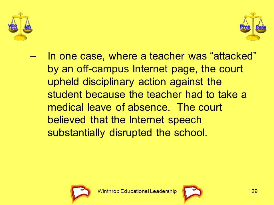 """Winthrop Educational Leadership129 –In one case, where a teacher was """"attacked"""" by an off-campus Internet page, the court upheld disciplinary action a"""