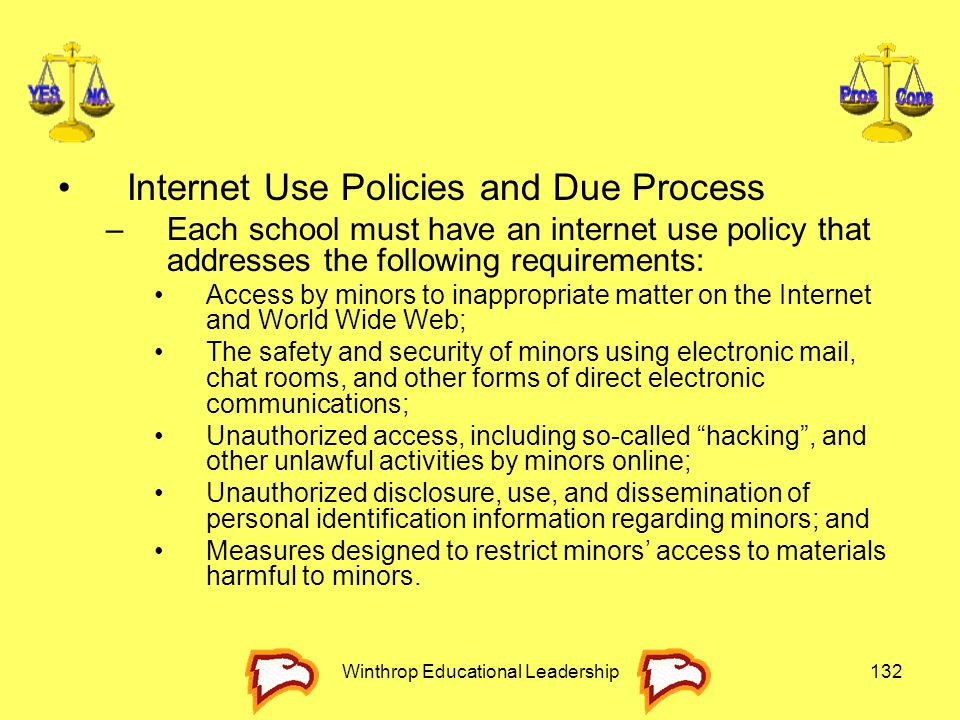 Winthrop Educational Leadership132 Internet Use Policies and Due Process –Each school must have an internet use policy that addresses the following re