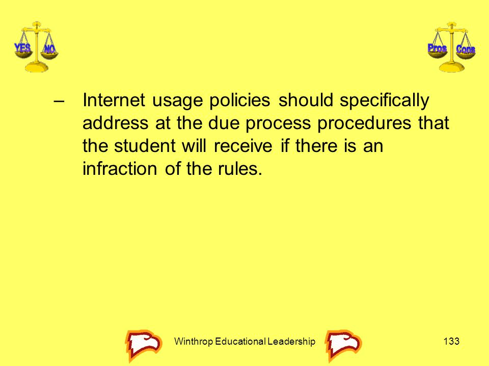 Winthrop Educational Leadership133 –Internet usage policies should specifically address at the due process procedures that the student will receive if