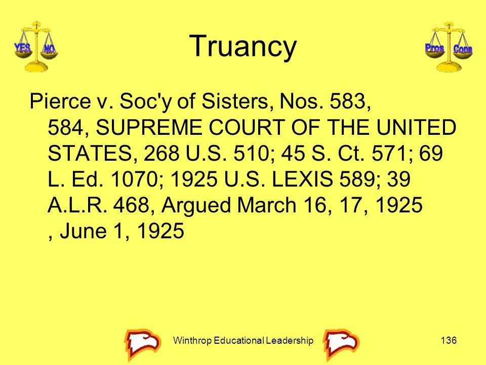 Truancy Pierce v. Soc'y of Sisters, Nos. 583, 584, SUPREME COURT OF THE UNITED STATES, 268 U.S. 510; 45 S. Ct. 571; 69 L. Ed. 1070; 1925 U.S. LEXIS 58