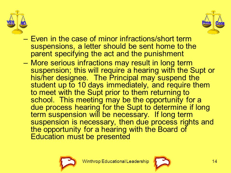 Winthrop Educational Leadership14 –Even in the case of minor infractions/short term suspensions, a letter should be sent home to the parent specifying
