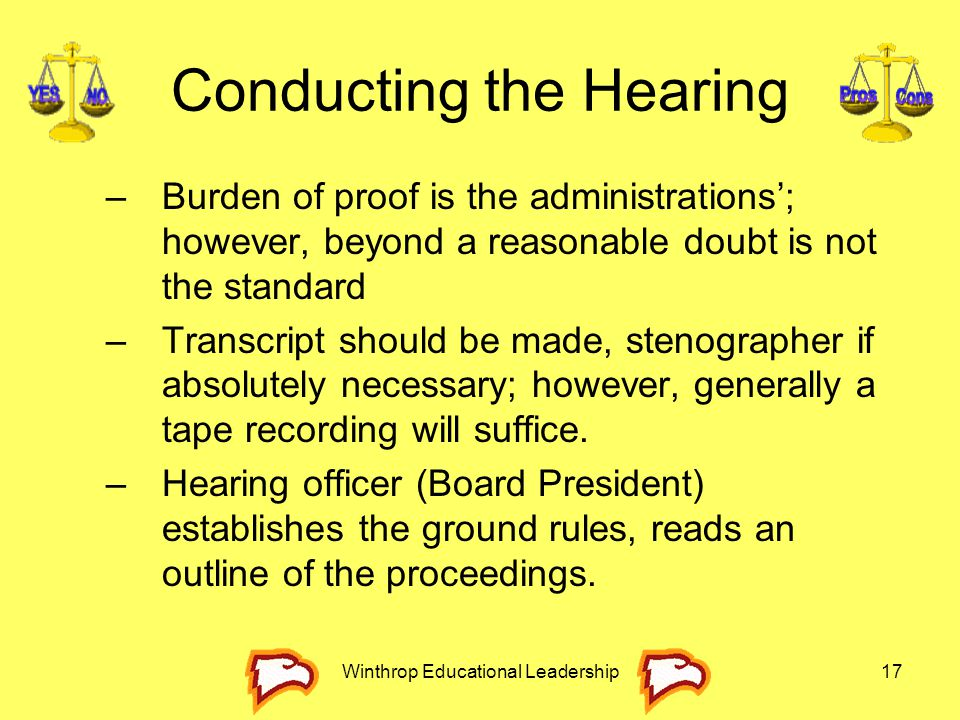 Winthrop Educational Leadership17 Conducting the Hearing –Burden of proof is the administrations'; however, beyond a reasonable doubt is not the stand