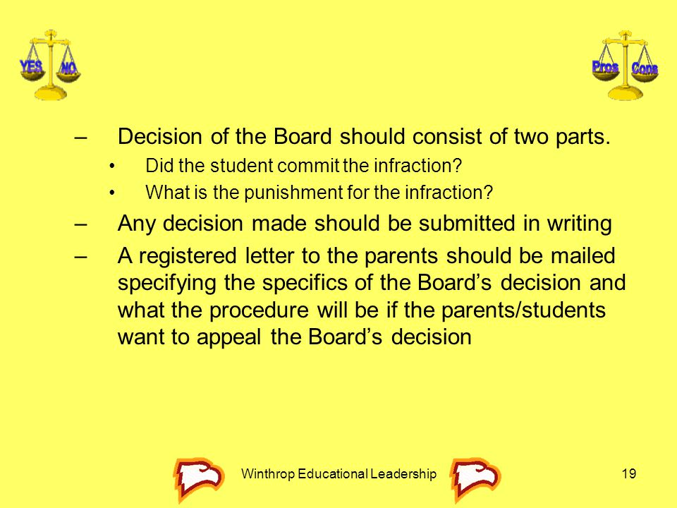 Winthrop Educational Leadership19 –Decision of the Board should consist of two parts. Did the student commit the infraction? What is the punishment fo