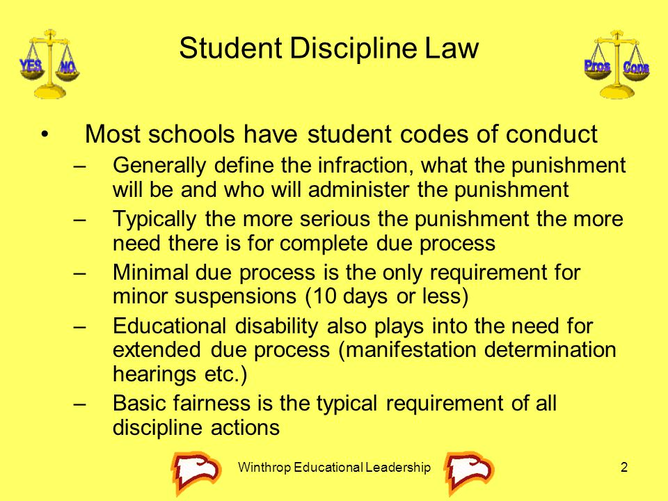 Winthrop Educational Leadership133 –Internet usage policies should specifically address at the due process procedures that the student will receive if there is an infraction of the rules.
