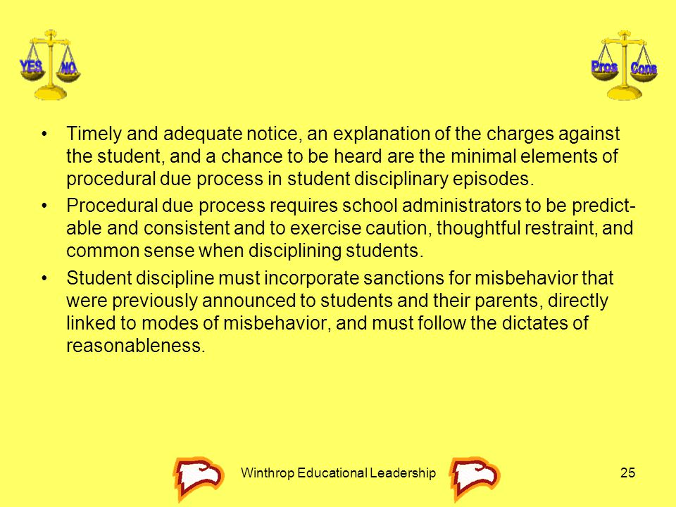 Winthrop Educational Leadership25 Timely and adequate notice, an explanation of the charges against the student, and a chance to be heard are the mini