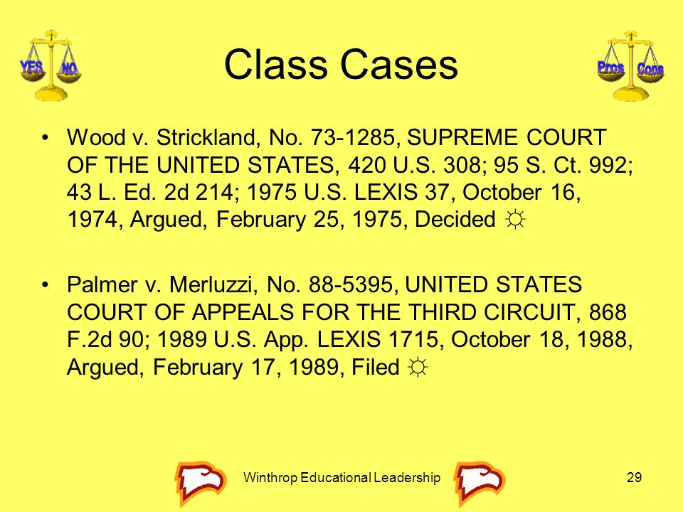 Winthrop Educational Leadership29 Class Cases Wood v. Strickland, No. 73-1285, SUPREME COURT OF THE UNITED STATES, 420 U.S. 308; 95 S. Ct. 992; 43 L.