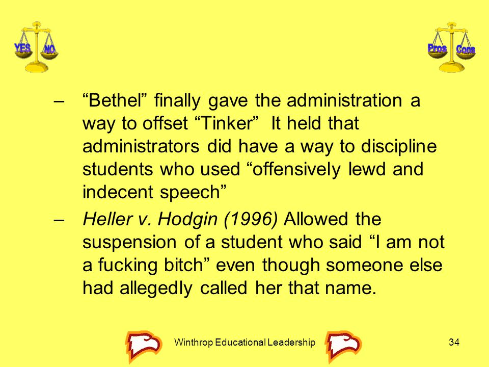 """Winthrop Educational Leadership34 –""""Bethel"""" finally gave the administration a way to offset """"Tinker"""" It held that administrators did have a way to dis"""