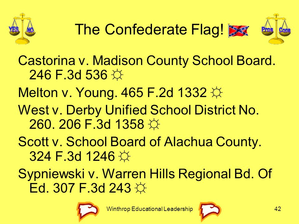 Winthrop Educational Leadership42 The Confederate Flag! Castorina v. Madison County School Board. 246 F.3d 536 ☼ Melton v. Young. 465 F.2d 1332 ☼ West