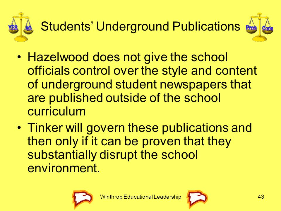 Winthrop Educational Leadership43 Students' Underground Publications Hazelwood does not give the school officials control over the style and content o
