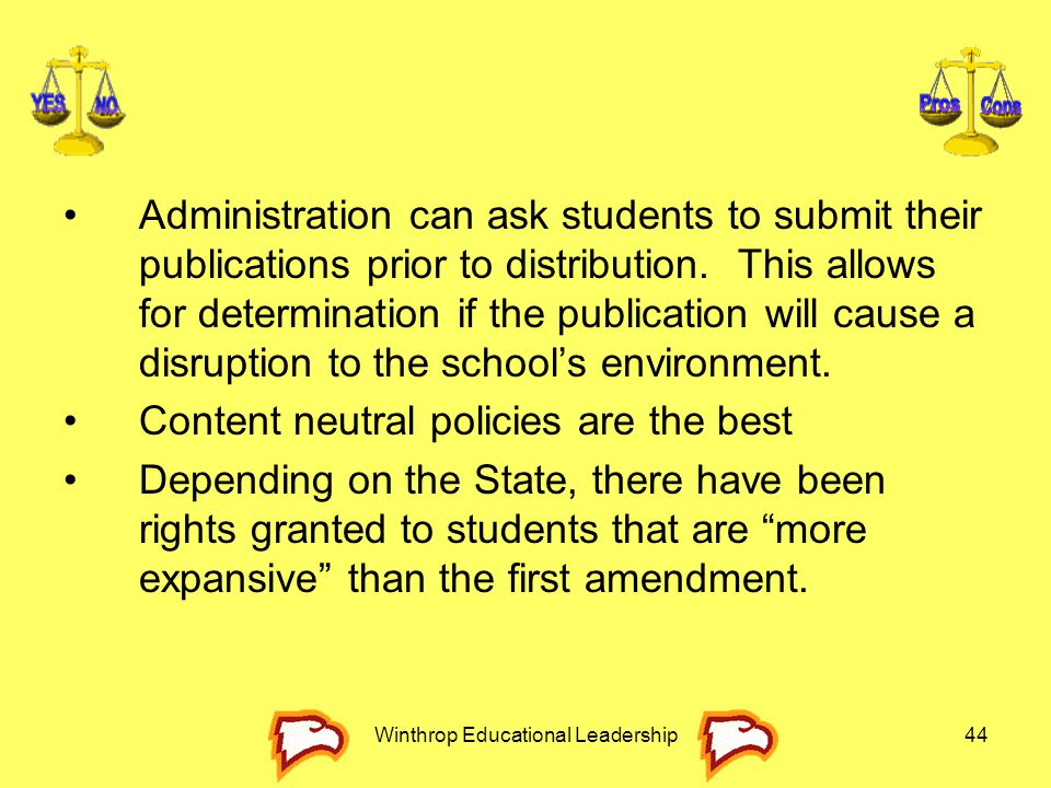 Winthrop Educational Leadership44 Administration can ask students to submit their publications prior to distribution. This allows for determination if