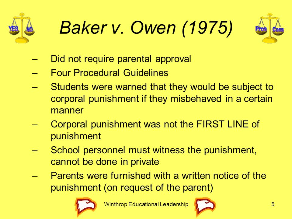 Winthrop Educational Leadership5 Baker v. Owen (1975) –Did not require parental approval –Four Procedural Guidelines –Students were warned that they w