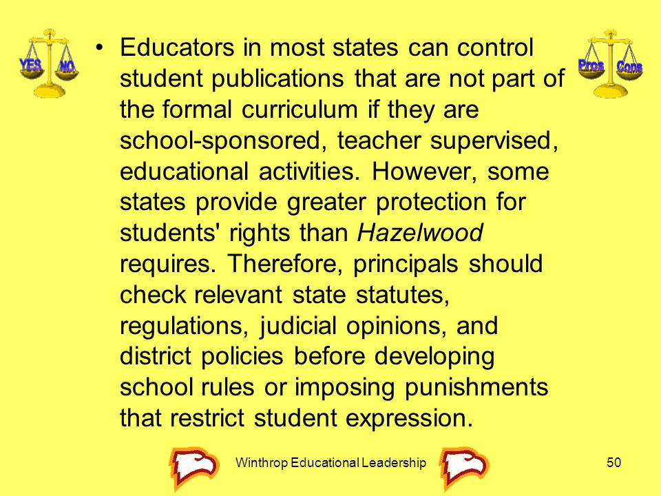 Winthrop Educational Leadership50 Educators in most states can control student publications that are not part of the formal curriculum if they are sch