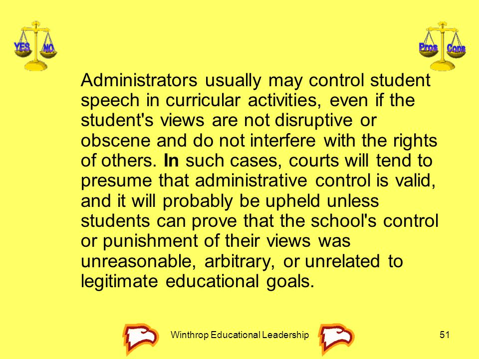 Winthrop Educational Leadership51 Administrators usually may control student speech in curricular activities, even if the student's views are not disr