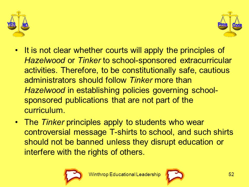 It is not clear whether courts will apply the principles of Hazelwood or Tinker to school-sponsored extracurricular activities. Therefore, to be const
