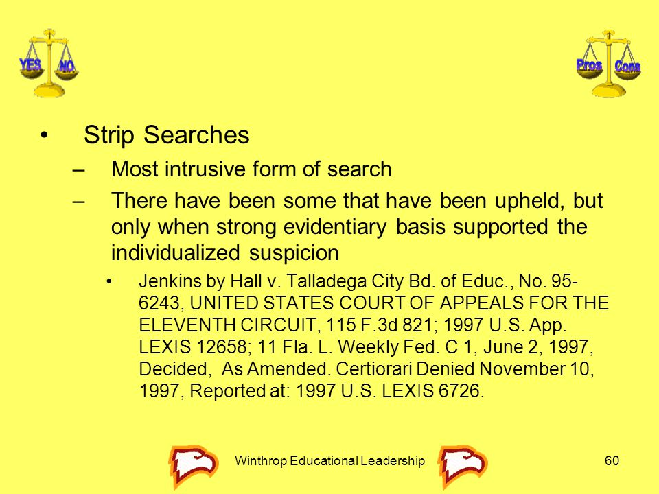 Winthrop Educational Leadership60 Strip Searches –Most intrusive form of search –There have been some that have been upheld, but only when strong evid