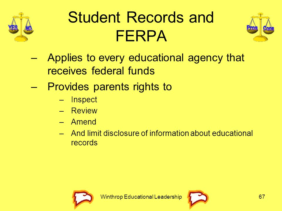 Winthrop Educational Leadership67 Student Records and FERPA –Applies to every educational agency that receives federal funds –Provides parents rights
