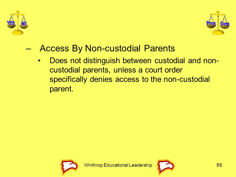 Winthrop Educational Leadership69 –Access By Non-custodial Parents Does not distinguish between custodial and non- custodial parents, unless a court o